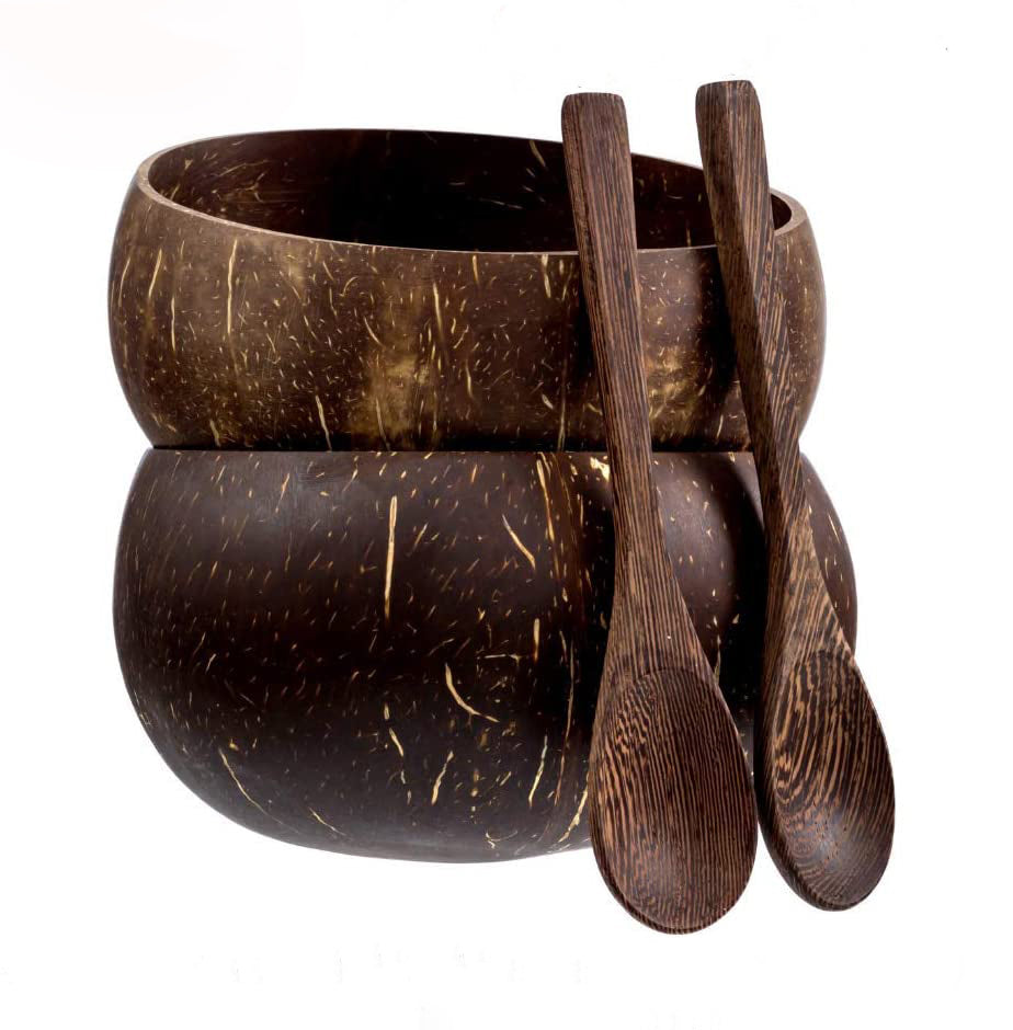 Coconut Bowls And Wooden Spoon Sets - Vedessi