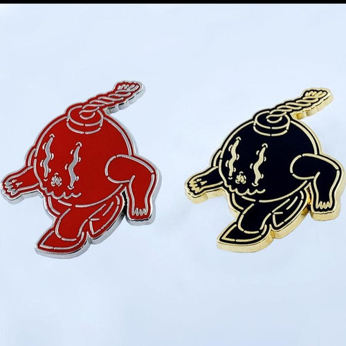 Boomer Black/Gold & Red/Silver Hard Enamel Pin set
