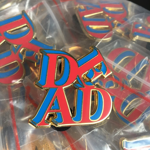 Love Is Dead Enamel Pin Red/Blue/Gold