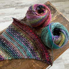 Casting on the Nightshift Shawl pattern by Andrea Mowry using 2 skeins of Noro Ito   Stix Yarn, Bozeman, MT
