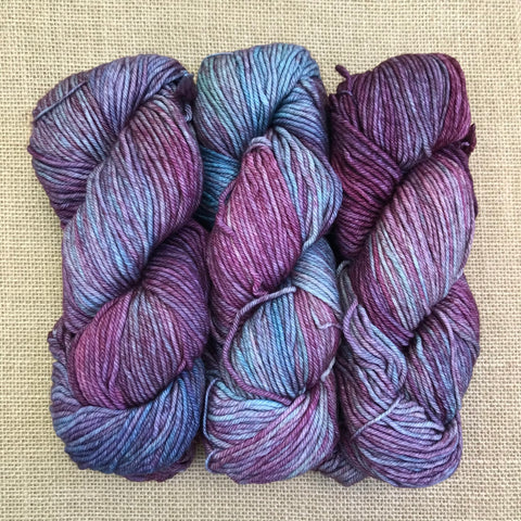 Malabrigo Rios Lotus is heavily variegated with light blue, aqua, purple and lavender