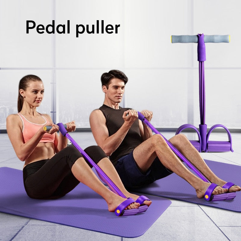 Ankle Puller Sit Up Mat Pull Rope with Foot Pedal Home Fitness Sport Equipment