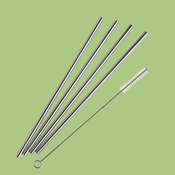 SteelStraw Straight 6 mm 4 pcs. + brush