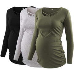 Pack of 3pcs Women's Maternity Tunic Top with Long Sleeve - Bloomy Mommy Shop
