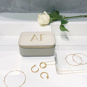 Pale Grey Jewellery Box Art Deco Initials