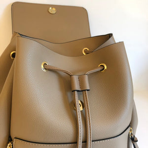 Personalised Camel Backpack With Gold Detailing