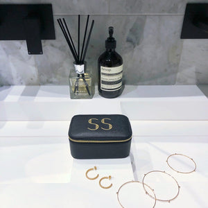 Black Personalised Jewellery Box Art Deco Initials