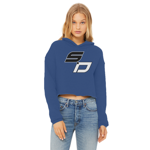 SD_DRIP Ladies Cropped Raw Edge Hoodie