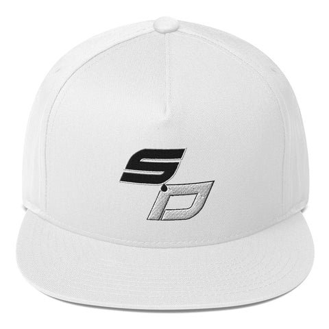 SOCIALEE DISTANT White Flat Bill Cap - SD Drip Logo on Front - Ships from USA