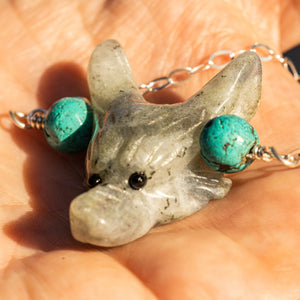 Joyce Pierce - Grey Jade Lycos Wolf with Turquoise Beads Necklace - Sacramento . Shop