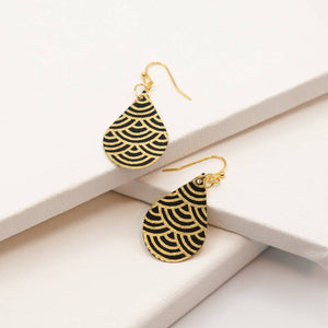 Susan Twining Creations - Black and Gold Japanese Wave Earrings