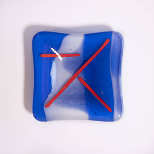 Shmak Creations - Blue Glass Dish, Red