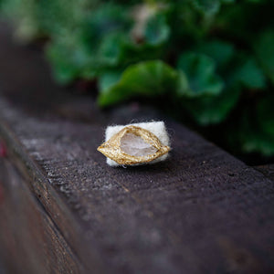 Succulent Sirens- Quartz Wrapped in Gold Silk Cocoon Ring