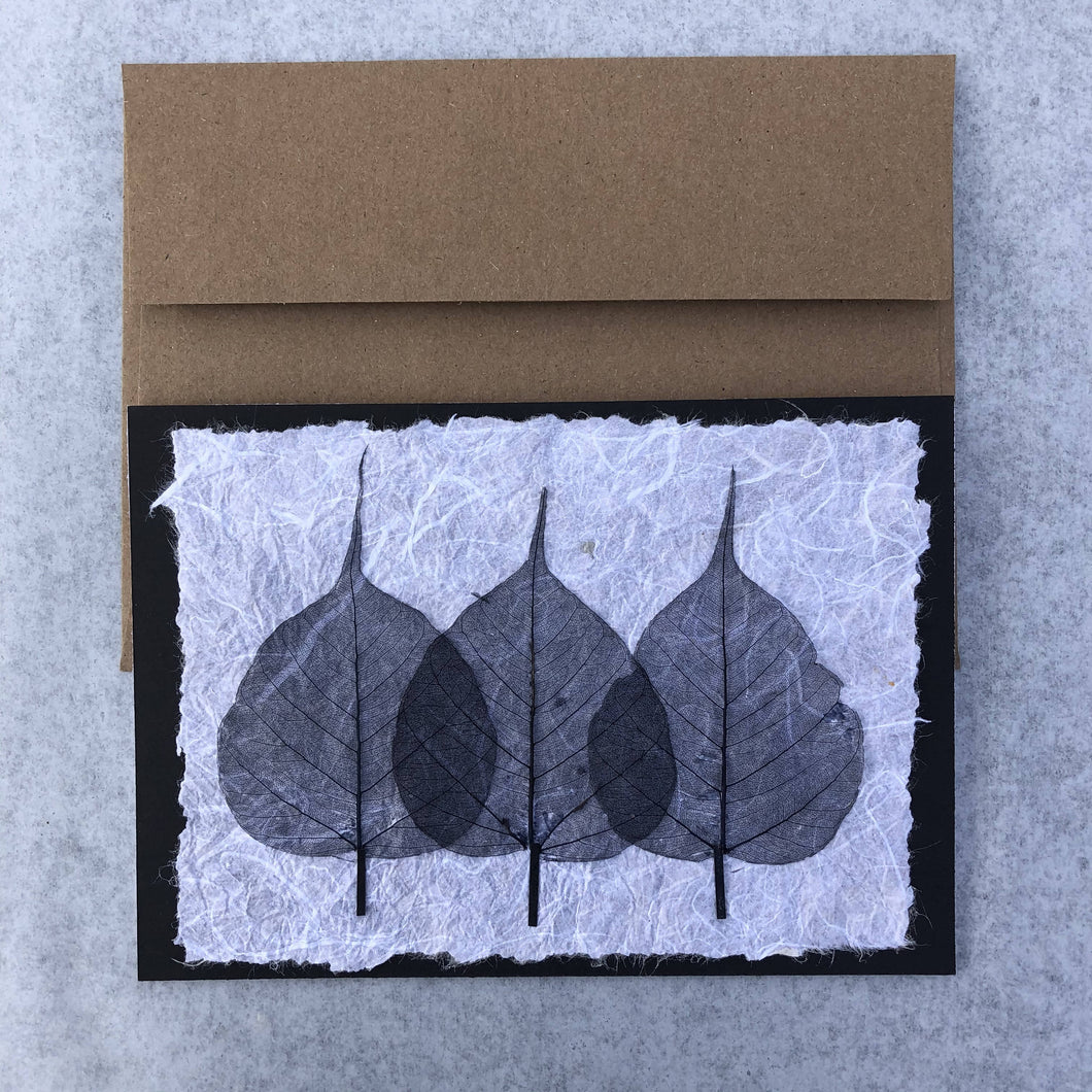 Susan Twining Creations - Greeting Card with 3 Black Bodhi Skeleton Leaves