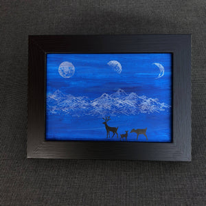 Susan Twining Creations - Greeting Card with Silver Moons and Mountains, Black Deer