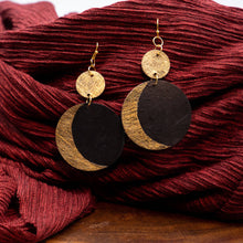 Load image into Gallery viewer, Susan Twining Creations - Gold and Black Crescent Moon Drop Earrings