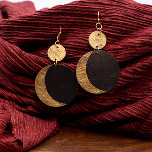 Susan Twining Creations - Gold and Black Crescent Moon Drop Earrings
