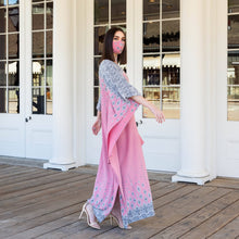 Load image into Gallery viewer, Yennie Zhou Designs - Royal Modern Elegant Rose Pink Maxi Kaftan Dress w/ Matching Mask