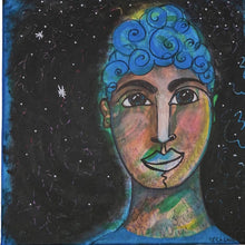 Load image into Gallery viewer, Chandra Merod- Buddha Blue Girl , Wall Art Mixed Media Painting