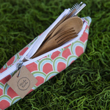 Load image into Gallery viewer, Miche Niche - Salmon Scallops On The Go Cutlery Set and Pouch, Dishware, Miche Niche, Sacramento . Shop