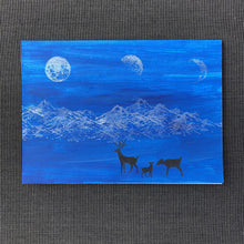 Load image into Gallery viewer, Susan Twining Creations - Greeting Card with Silver Moons and Mountains, Black Deer