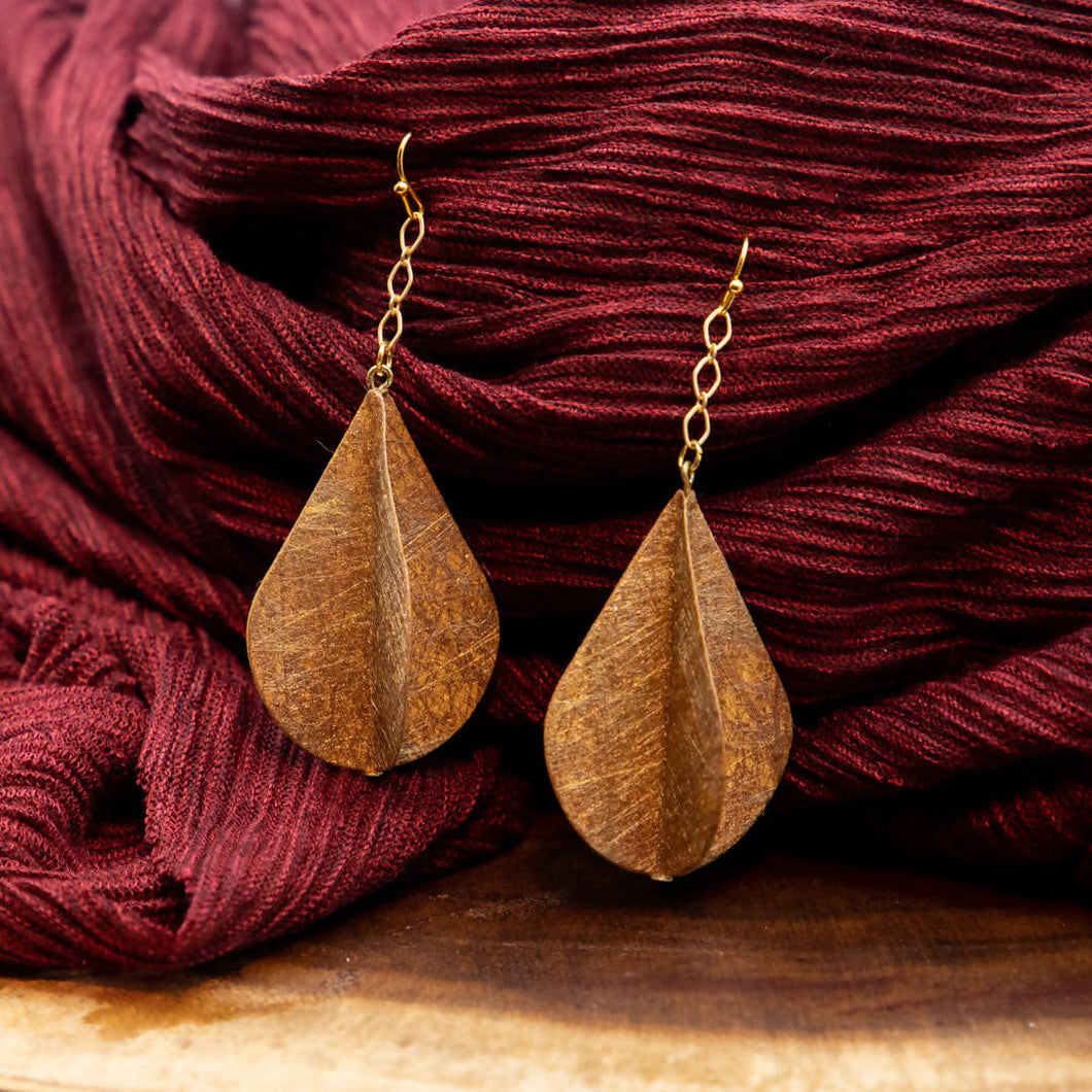 Susan Twining Creations - Gold Rotating Teardrop Earrings with Chains