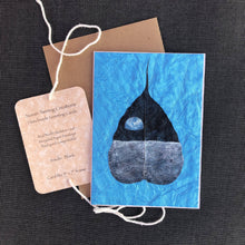 Load image into Gallery viewer, Susan Twining Creations - Handmade Greeting Card with Lunar View of Earth on Bodhi Leaf