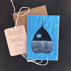Susan Twining Creations - Handmade Greeting Card with Lunar View of Earth on Bodhi Leaf