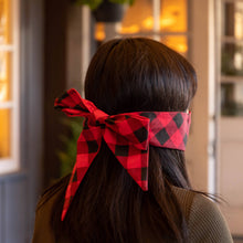 Load image into Gallery viewer, Yennie Zhou Designs - Red Checker Pattern Holiday Mask w/ Bow