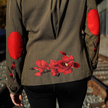 Load image into Gallery viewer, Maggie Devos - Embellished Military Green Twill Tailored Jacket