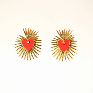 Maggie Devos - Red and Gold Flames Sacred Heart Earrings