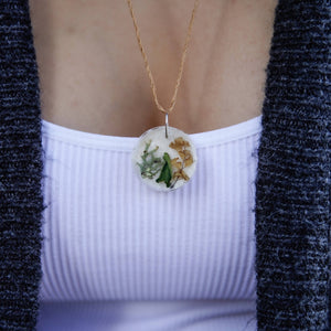Succulent Sirens- Two Ferns And A Lichen Circle Pendant Hemp Necklace