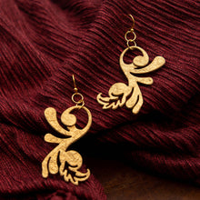 Load image into Gallery viewer, Susan Twining Creations - Gold Whimsical Fleur-de-lis Drop Earrings