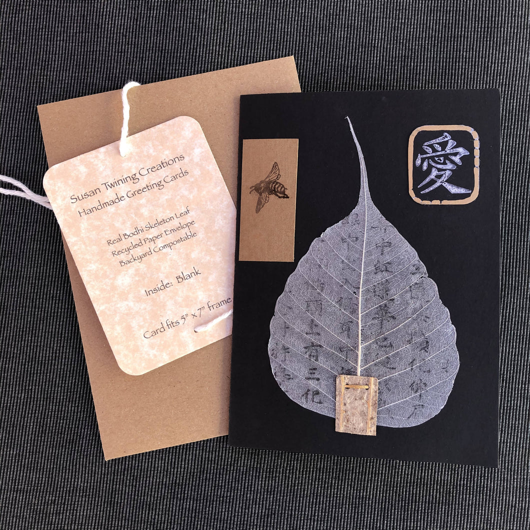Susan Twining Creations - Handmade Greeting Card Bodhi Leaf with Bee, and Love Kanji