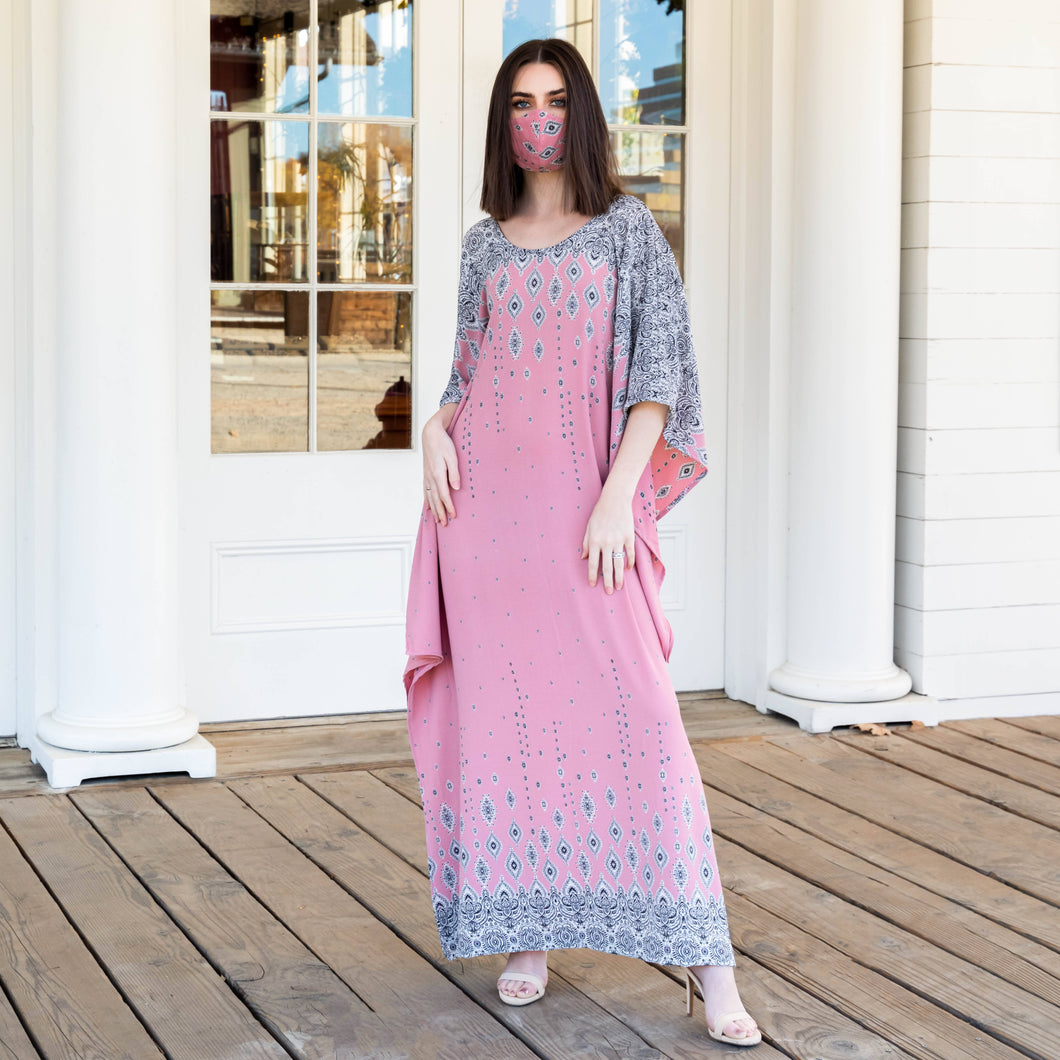 Yennie Zhou Designs - Royal Modern Elegant Rose Pink Maxi Kaftan Dress w/ Matching Mask