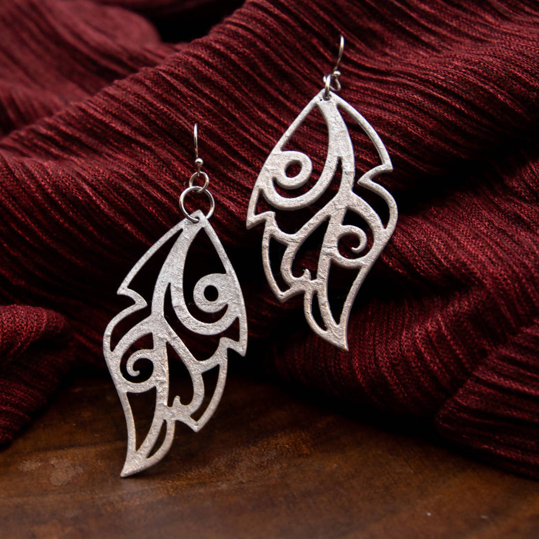 Susan Twining Creations - Cut-out Silver Leaf Earrings
