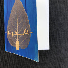 Load image into Gallery viewer, Susan Twining Creations - Handmade Greeting Card, Bodhi Skeleton Leaf and Gold Birds