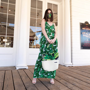 Yennie Zhou Designs - Tropical Palm Trees Leaves Print Cocoon Dress w/ Matching Mask and Bag