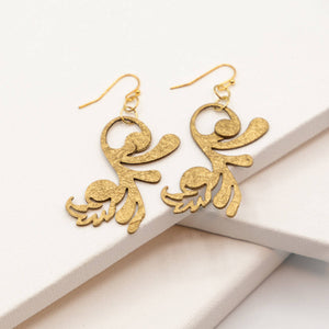 Susan Twining Creations - Gold Whimsical Fleur-de-lis Drop Earrings