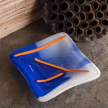 Load image into Gallery viewer, Shmak Creations - Blue Glass Dish, Orange