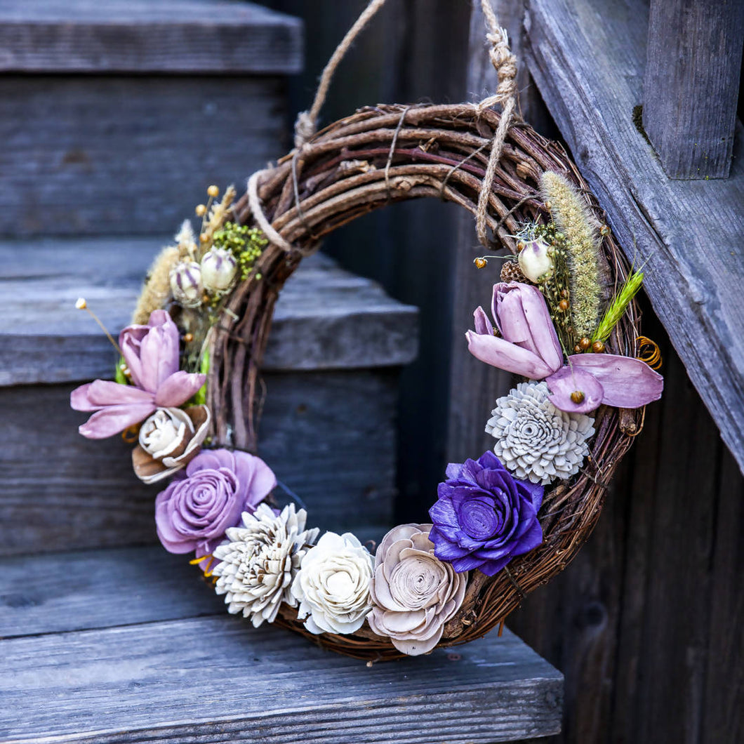 Ecojoyous - Large Dried Flower Wreath, Home Decor