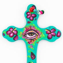 Load image into Gallery viewer, Elysiumstar Art - 'Hibiscus' - OOAK Pop Surreal Wall Decor Wooden Cross with Eye