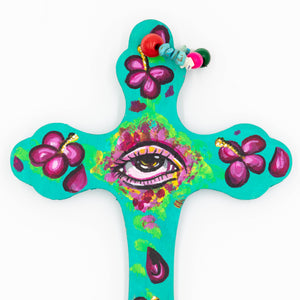 Elysiumstar Art - 'Hibiscus' - OOAK Pop Surreal Wall Decor Wooden Cross with Eye