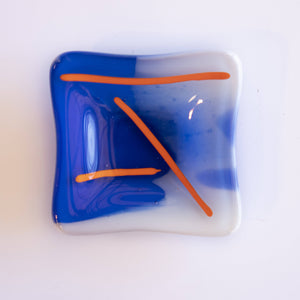 Shmak Creations - Blue Glass Dish, Orange