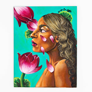 Elysiumstar Art - Lotus Girl - Acrylic OOAK Pop Surreal Painting