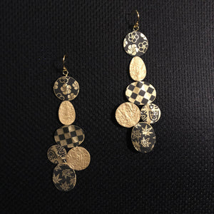 Susan Twining Creations - Gold and Black Mixed Shape Drop Earrings
