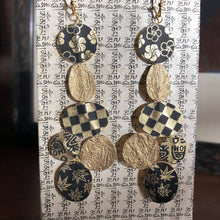 Load image into Gallery viewer, Susan Twining Creations - Gold and Black Mixed Shape Drop Earrings