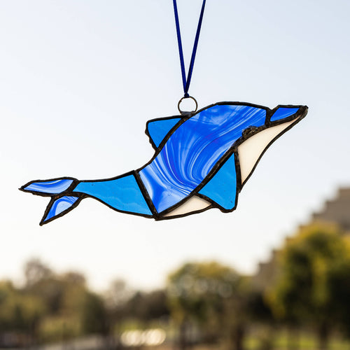 Sebridges Gallery - Dolphin Blue and White Stained Glass - Sacramento . Shop
