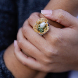 Succulent Sirens- Freshwater Pearl and Moss Nest Ring