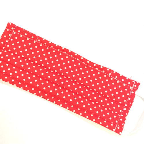 Jean Stone - Red with White Polka Dots Pleated Mask - Sacramento . Shop